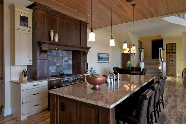 kitchen island and range
