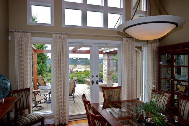 dining room with south windows for natural light