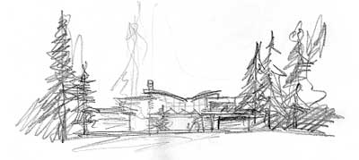 early conceptual sketch of new home with basic forms shown